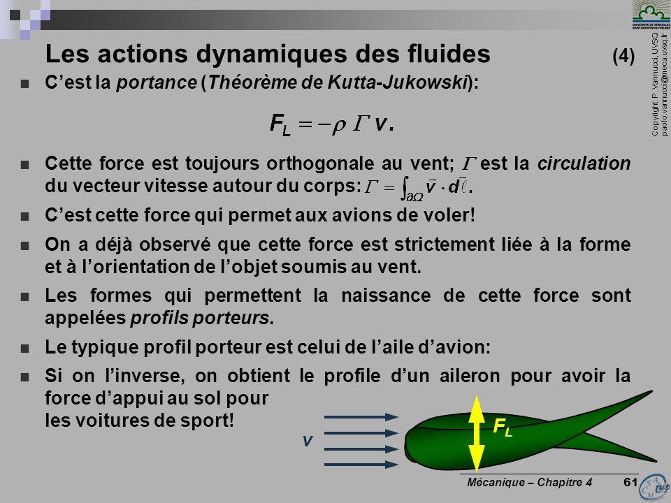 Copyright: P. Vannucci, UVSQ paolo.vannucci@meca.uvsq.fr ________________________________ Mécanique – Chapitre 4 61 Les actions dynamiques des fluides