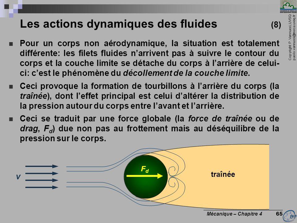 Copyright: P. Vannucci, UVSQ paolo.vannucci@meca.uvsq.fr ________________________________ Mécanique – Chapitre 4 65 Les actions dynamiques des fluides