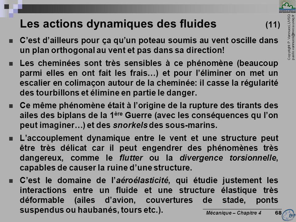 Copyright: P. Vannucci, UVSQ paolo.vannucci@meca.uvsq.fr ________________________________ Mécanique – Chapitre 4 68 Les actions dynamiques des fluides