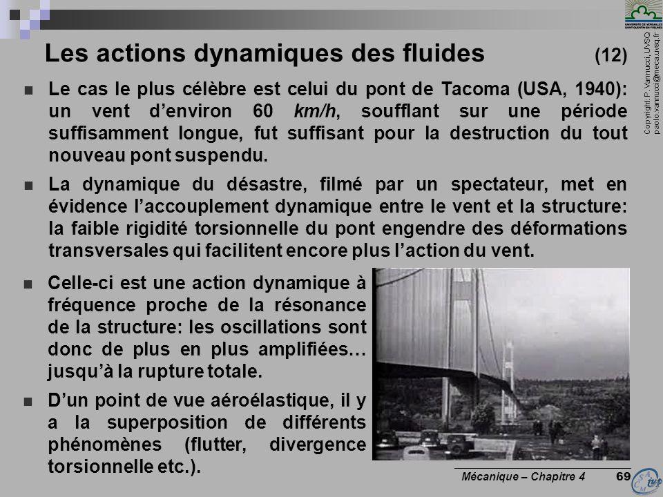 Copyright: P. Vannucci, UVSQ paolo.vannucci@meca.uvsq.fr ________________________________ Mécanique – Chapitre 4 69 Les actions dynamiques des fluides