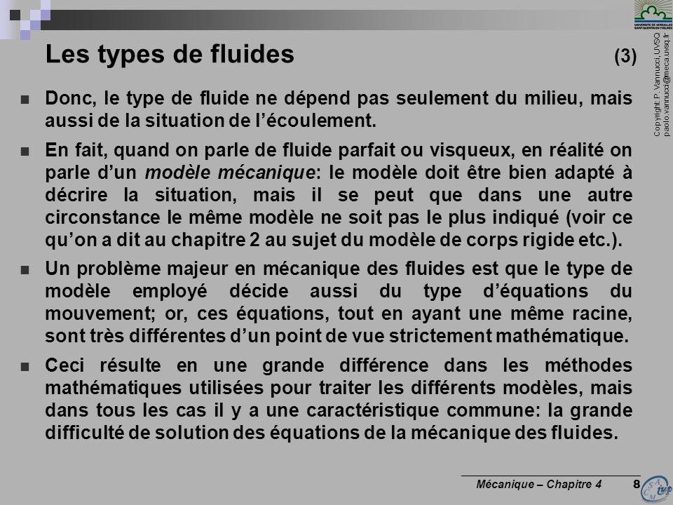 Copyright: P. Vannucci, UVSQ paolo.vannucci@meca.uvsq.fr ________________________________ Mécanique – Chapitre 4 8 Les types de fluides (3) Donc, le t