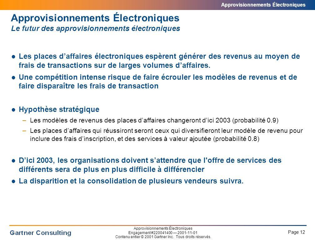 Approvisionnements Électroniques Page 12 Approvisionnements Électroniques Engagement #220041400 2001-11-01 Contenu entier © 2001 Gartner Inc.