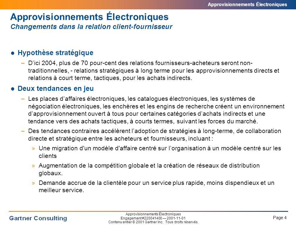Approvisionnements Électroniques Page 4 Approvisionnements Électroniques Engagement #220041400 2001-11-01 Contenu entier © 2001 Gartner Inc.