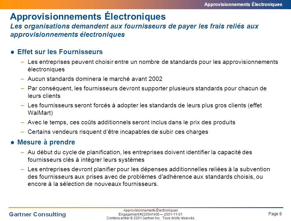 Approvisionnements Électroniques Page 9 Approvisionnements Électroniques Engagement #220041400 2001-11-01 Contenu entier © 2001 Gartner Inc.