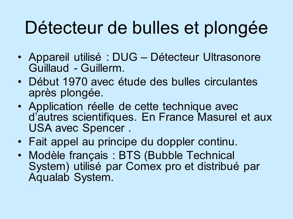 Détecteur de bulles et plongée Appareil utilisé : DUG – Détecteur Ultrasonore Guillaud - Guillerm. Début 1970 avec étude des bulles circulantes après