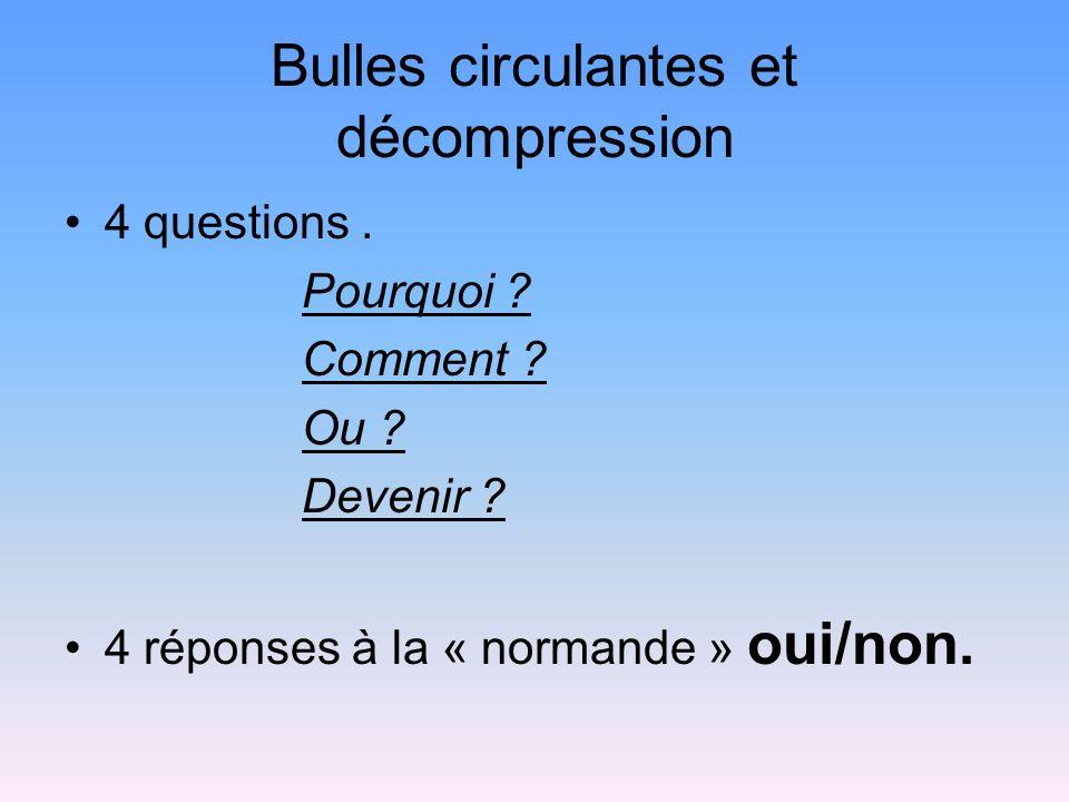 Bulles circulantes et décompression 4 questions. Pourquoi ? Comment ? Ou ? Devenir ? 4 réponses à la « normande » oui/non.