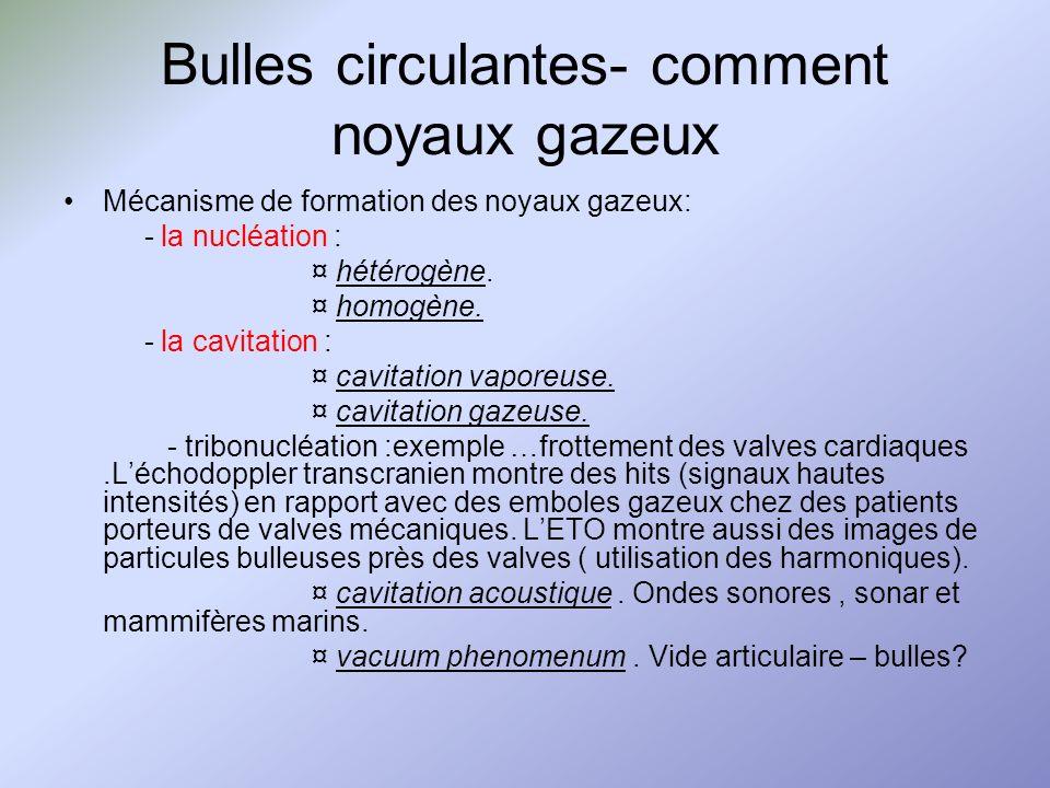 Bulles circulantes- comment noyaux gazeux Mécanisme de formation des noyaux gazeux: - la nucléation : ¤ hétérogène. ¤ homogène. - la cavitation : ¤ ca