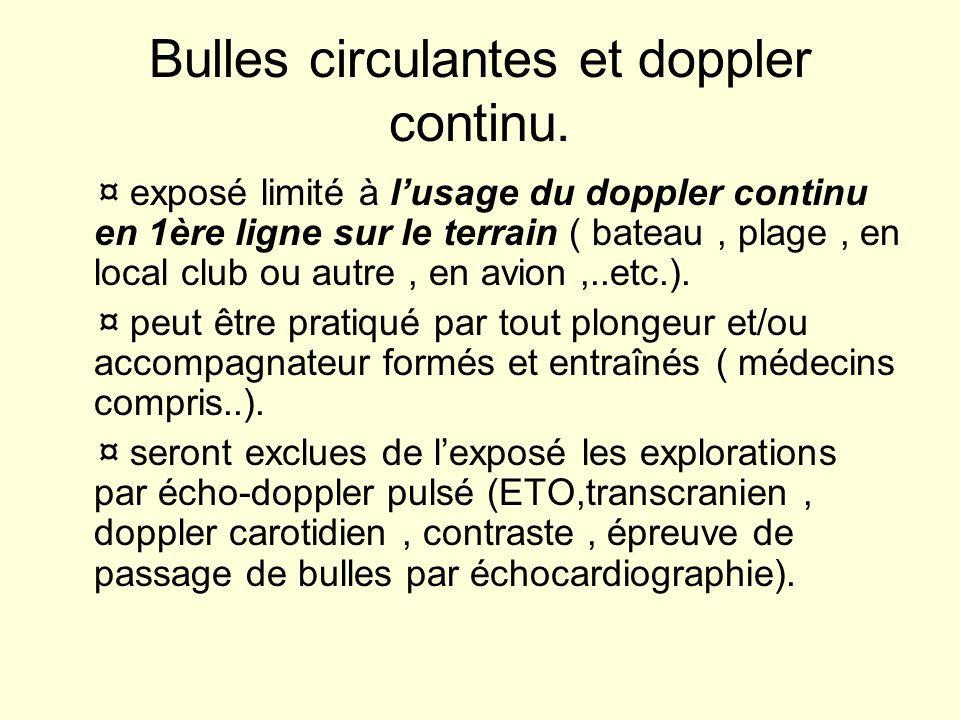 Bulles circulantes et doppler continu. ¤ exposé limité à lusage du doppler continu en 1ère ligne sur le terrain ( bateau, plage, en local club ou autr