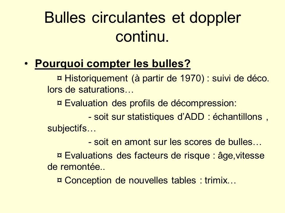 Bulles circulantes et doppler continu. Pourquoi compter les bulles? ¤ Historiquement (à partir de 1970) : suivi de déco. lors de saturations… ¤ Evalua
