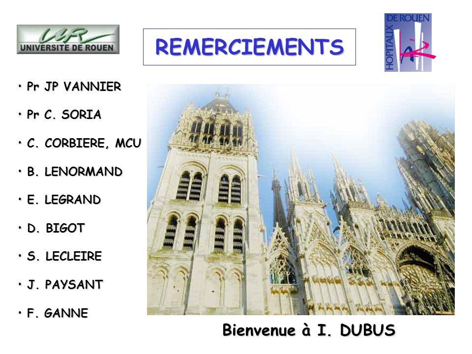 REMERCIEMENTS Pr JP VANNIER Pr JP VANNIER Pr C. SORIA Pr C. SORIA C. CORBIERE, MCU C. CORBIERE, MCU B. LENORMAND B. LENORMAND E. LEGRAND E. LEGRAND D.