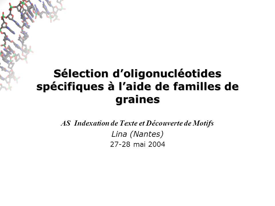 Méthode proposée pour le design Optimisation Algorithme génétique (optimisation stochastique) –Sélection de familles de graines résolvant le plus grand nombre dinstances de ( m, k ) évolution (par un certain nombre de techniques) des graines constituant la famille mesure du nombre dinstances de ( m, k ) non résolues –Algorithme génétique : convergence vers solution optimale non garantie … (et peu probable sur grandes instances)
