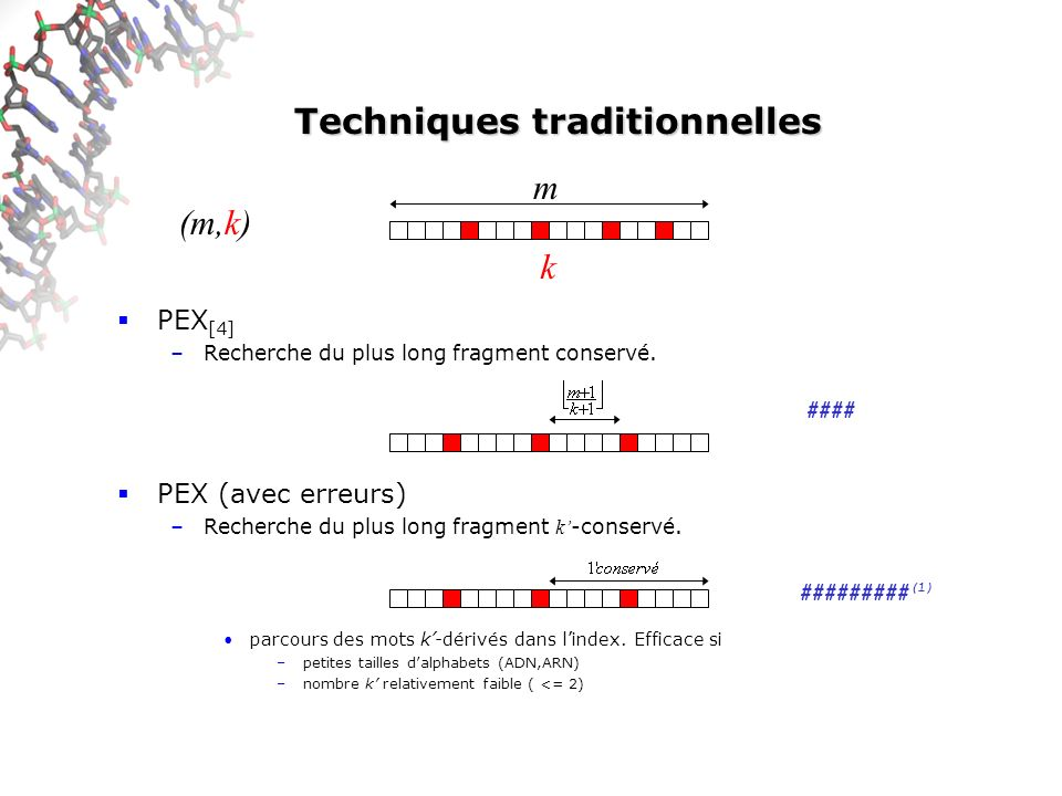 Techniques traditionnelles PEX [4] –Recherche du plus long fragment conservé. PEX (avec erreurs) –Recherche du plus long fragment k -conservé. parcour