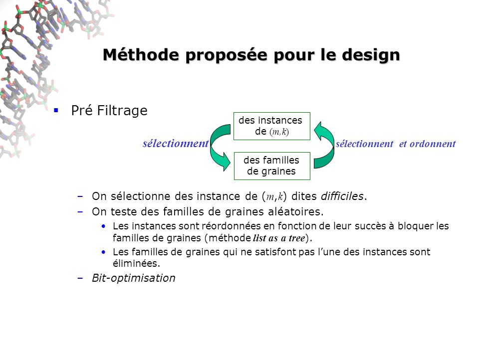 Méthode proposée pour le design Pré Filtrage –On sélectionne des instance de ( m, k ) dites difficiles. –On teste des familles de graines aléatoires.