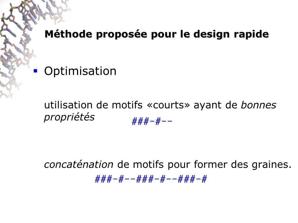 Méthode proposée pour le design rapide Optimisation utilisation de motifs «courts» ayant de bonnes propriétés concaténation de motifs pour former des graines.