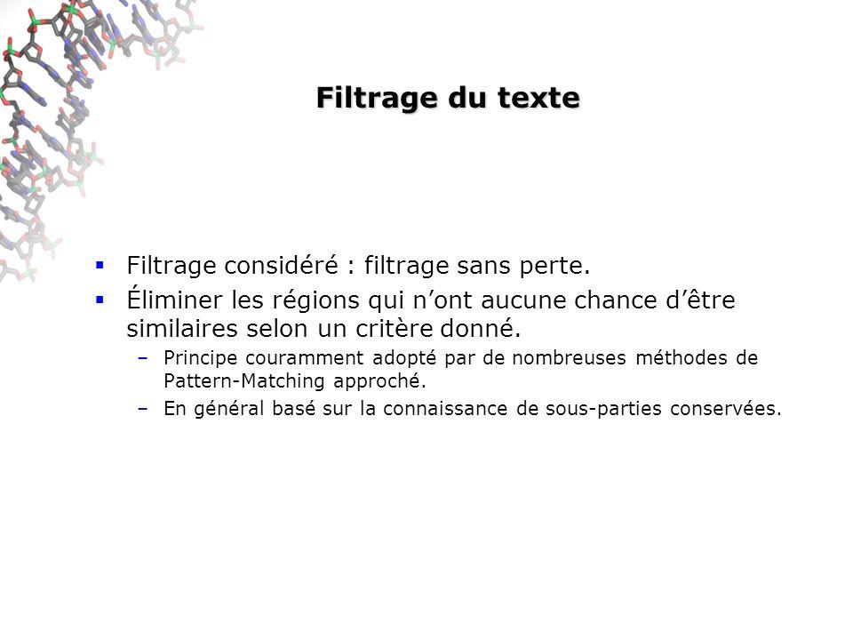 Filtrage du texte Filtrage considéré : filtrage sans perte. Éliminer les régions qui nont aucune chance dêtre similaires selon un critère donné. –Prin