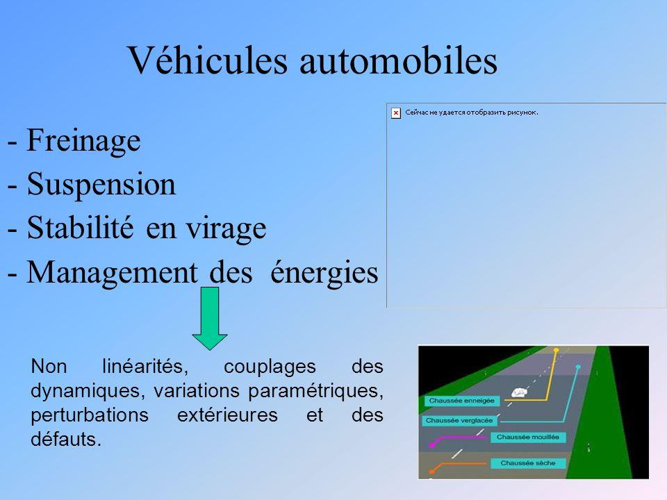 Véhicules automobiles - Freinage - Suspension - Stabilité en virage - Management des énergies Non linéarités, couplages des dynamiques, variations paramétriques, perturbations extérieures et des défauts.