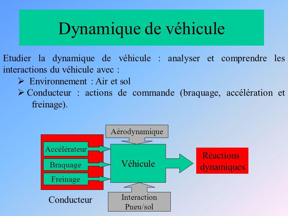Dynamique de véhicule Etudier la dynamique de véhicule : analyser et comprendre les interactions du véhicule avec : Environnement : Air et sol Conducteur : actions de commande (braquage, accélération et freinage).