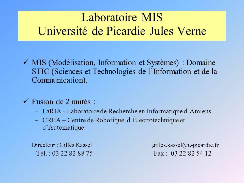 Laboratoire MIS Université de Picardie Jules Verne MIS (Modélisation, Information et Systèmes) : Domaine STIC (Sciences et Technologies de lInformation et de la Communication).