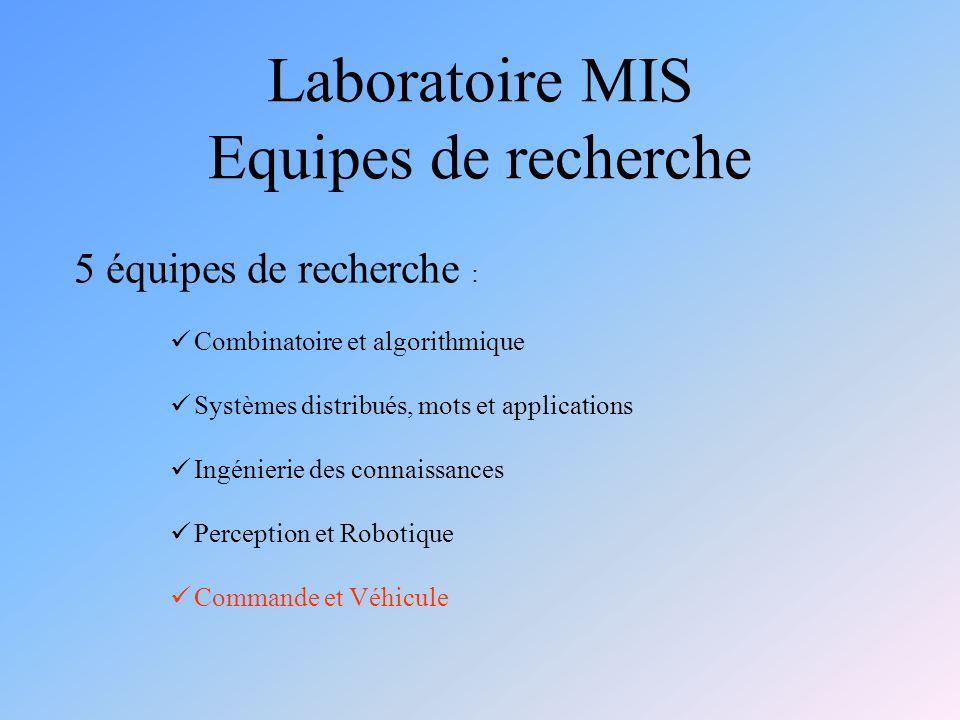Laboratoire MIS Equipes de recherche 5 équipes de recherche : Combinatoire et algorithmique Systèmes distribués, mots et applications Ingénierie des connaissances Perception et Robotique Commande et Véhicule