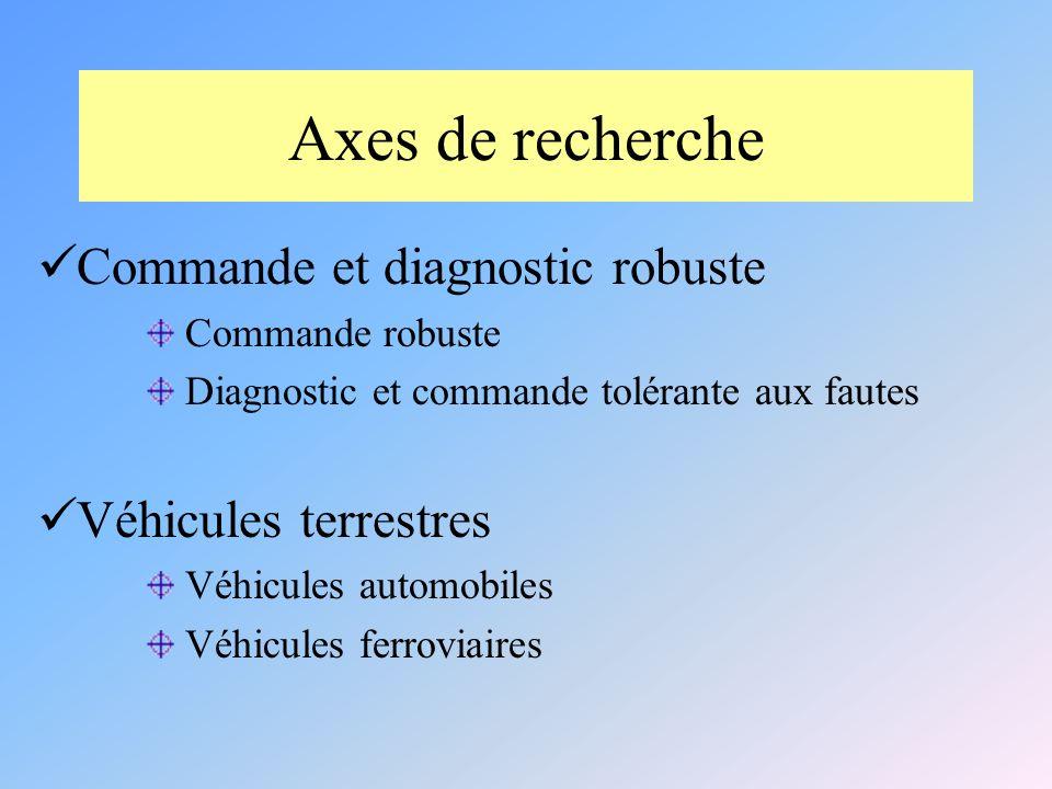 Axes de recherche Commande et diagnostic robuste Commande robuste Diagnostic et commande tolérante aux fautes Véhicules terrestres Véhicules automobiles Véhicules ferroviaires