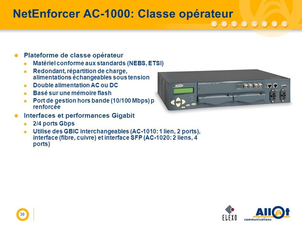 30 NetEnforcer AC-1000: Classe opérateur Plateforme de classe opérateur Matériel conforme aux standards (NEBS, ETSI) Redondant, répartition de charge,