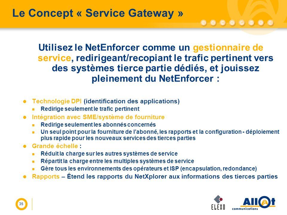 35 Le Concept « Service Gateway » Utilisez le NetEnforcer comme un gestionnaire de service, redirigeant/recopiant le trafic pertinent vers des système