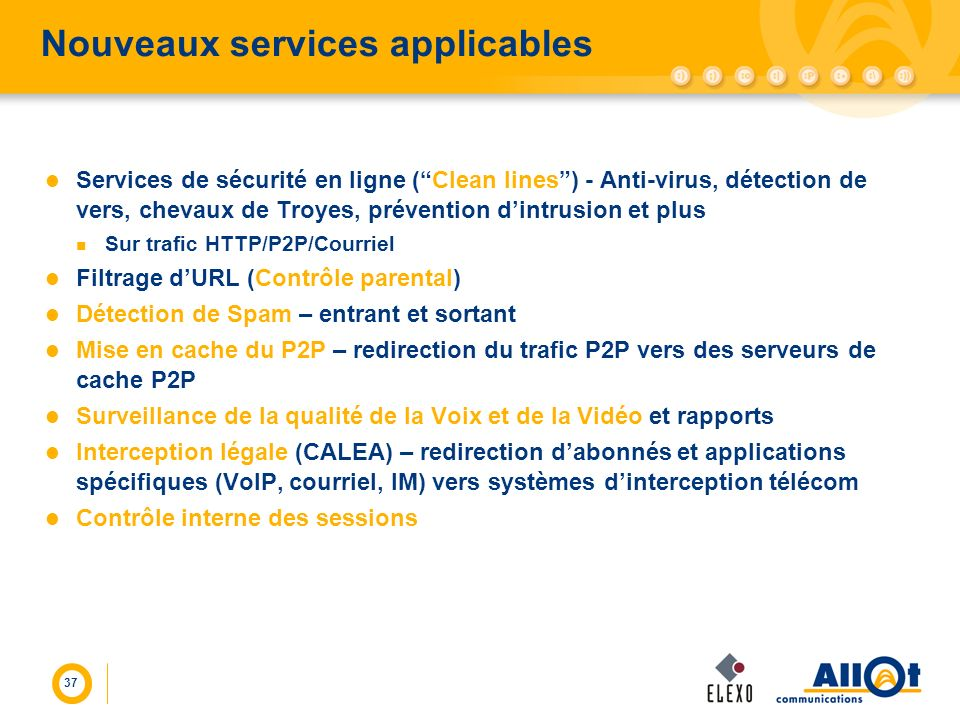 37 Nouveaux services applicables Services de sécurité en ligne (Clean lines) - Anti-virus, détection de vers, chevaux de Troyes, prévention dintrusion