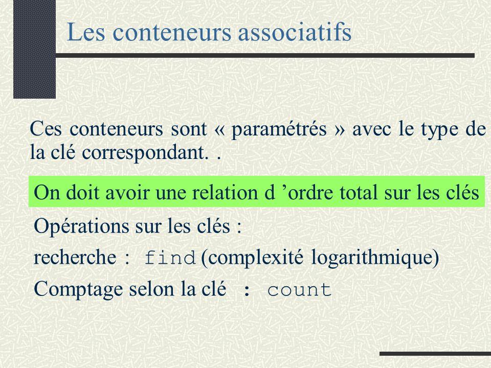 Les conteneurs associatifs Contrairement aux séquences, les conteneurs associatifs peuvent identifier leurs éléments par la valeur d une clé. Cette cl