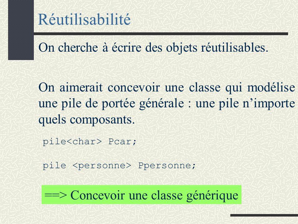 La classe pile class pile{ public : pile(void); // constructeur ~pile(void); // destructeur // IC non vide X& sommet (void); // Sélecteur => valeur placée au sommet de IC bool vide(void); // Sélecteur => (IC vide?) void empiler(const X&); // x est ajouté au sommet de IC // IC non vide void depiler(void); // composant placé au sommet est supprimé private : … };