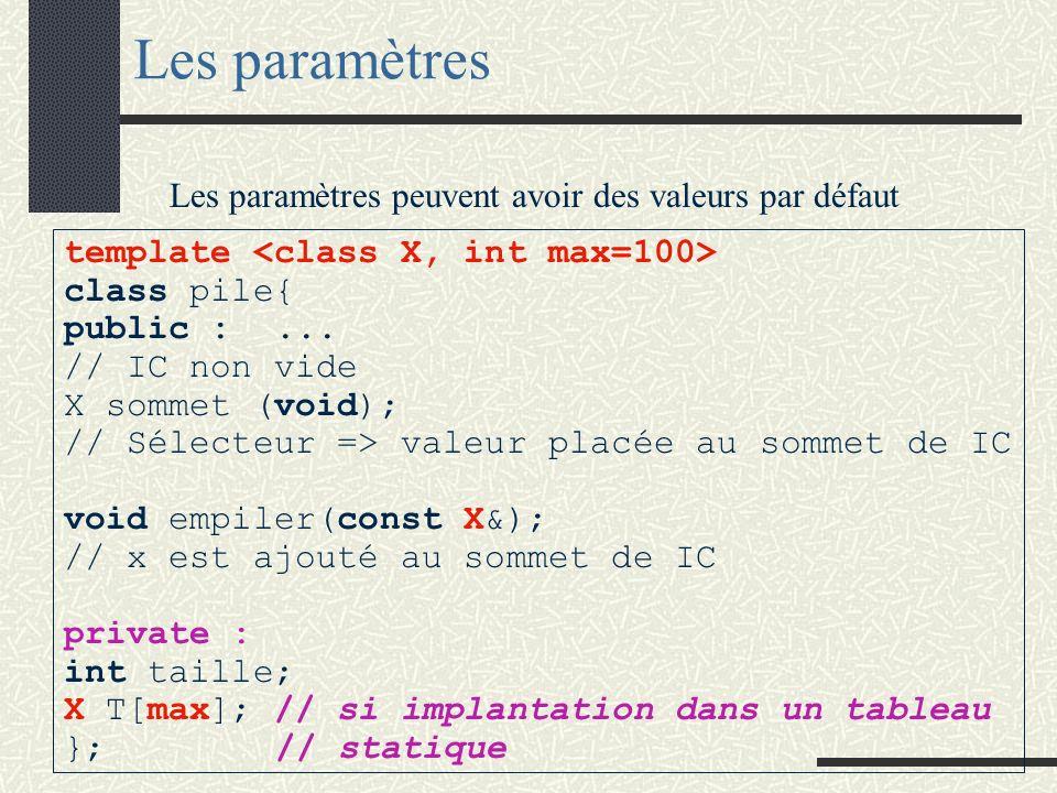 Le paramètre générique effectif d une classe peut être un identificateur de type prédéfini ou un identificateur de classe. Les paramètres Une classe g