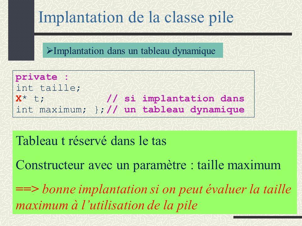 Implantation de la classe pile Implantation dans un tableau statique private : int taille; X T[max]; // si implantation dans un tableau };// statique pbs : Evaluation de max Limite de la mémoire statique ==> gestion dynamique