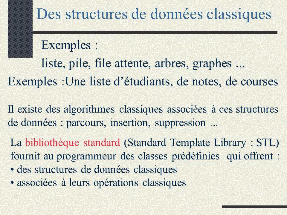 Structures de données dynamiques Notion de conteneur Généricité Implantation dynamique d une pile surcharge de l opérateur = surcharge du constructeur