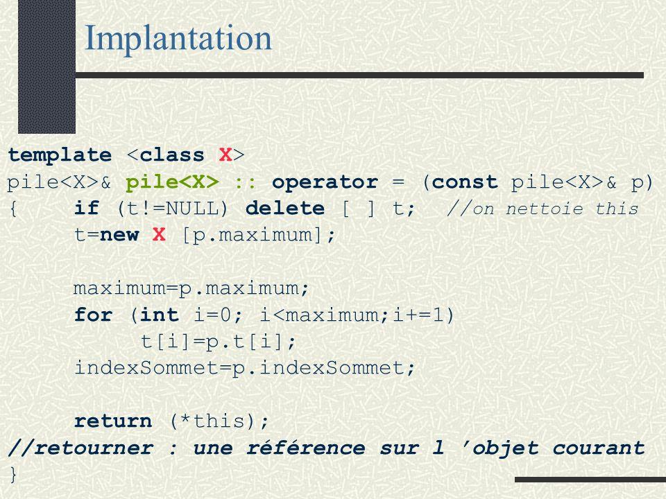 Surcharge de lopérateur daffectation template <class X> class pile { public: pile<X>& operator = (const pile<X>&); // opérateur d affectation Le comportement habituel de lopérateur = autorise à enchaîner les affectations : p1=p2=p3; => la fonction retourne une référence et l argument est une référence.