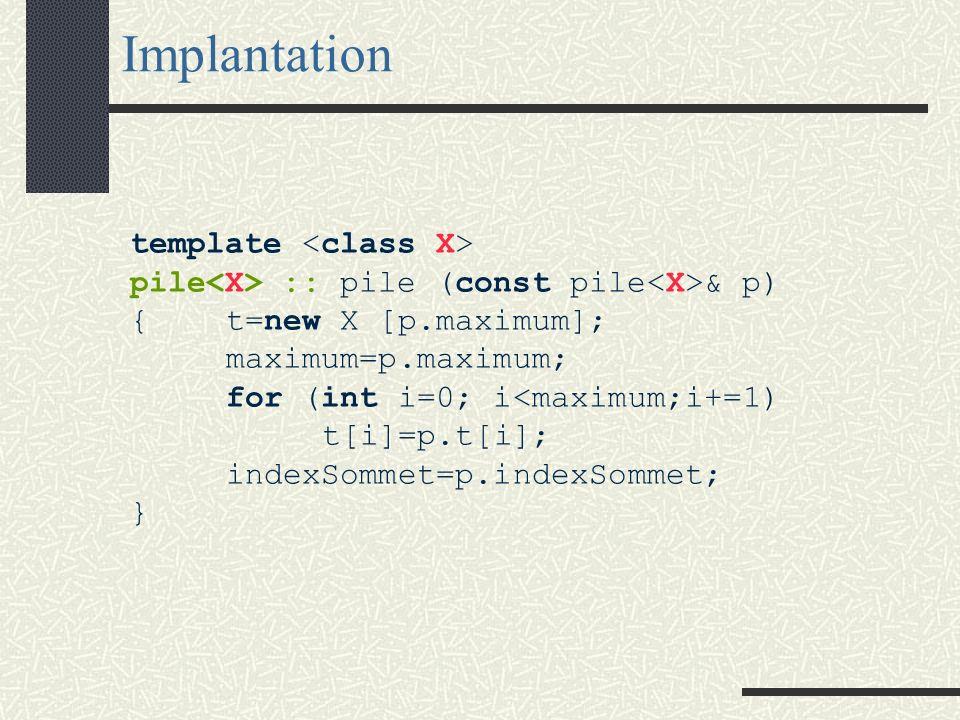 Surcharge du constructeur par copie Prototype : class C { public : C (const C&); // constructeur par copie...}; Par défaut, cette méthode implicite réalise une copie des valeurs qui correspondent à la section private de la classe.