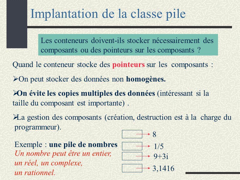 Implantation de la classe pile Les conteneurs doivent-ils stocker nécessairement des composants ou des pointeurs sur les composants ? Quand le contene