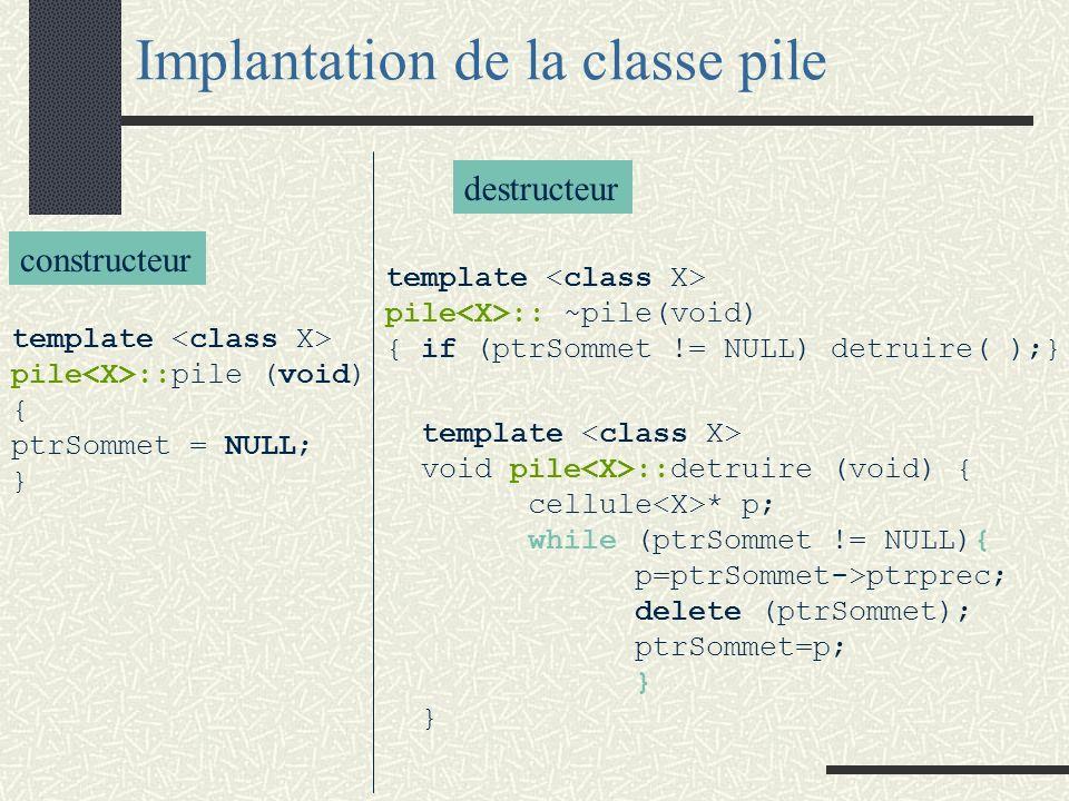 template <class X> class pile {public: pile (void); // IC vide est créée pile (const pile<X>&); // Constructeur par copie ~pile (void); // IC est détruite pile<X>& operator=(const pile<X>& P); // IC = P void empiler (const X& a); // a est empilé dans IC //IC non vide void depiler (void); // l élément placé au sommet de IC est supprimé //IC non vide X& sommet (void); // sélecteur : valeur placée au sommet bool vide(void); //sélecteur : ( IC est vide ) }; Classe pile private : cellule * ptrSommet; // pointeur sur la cellule sommet