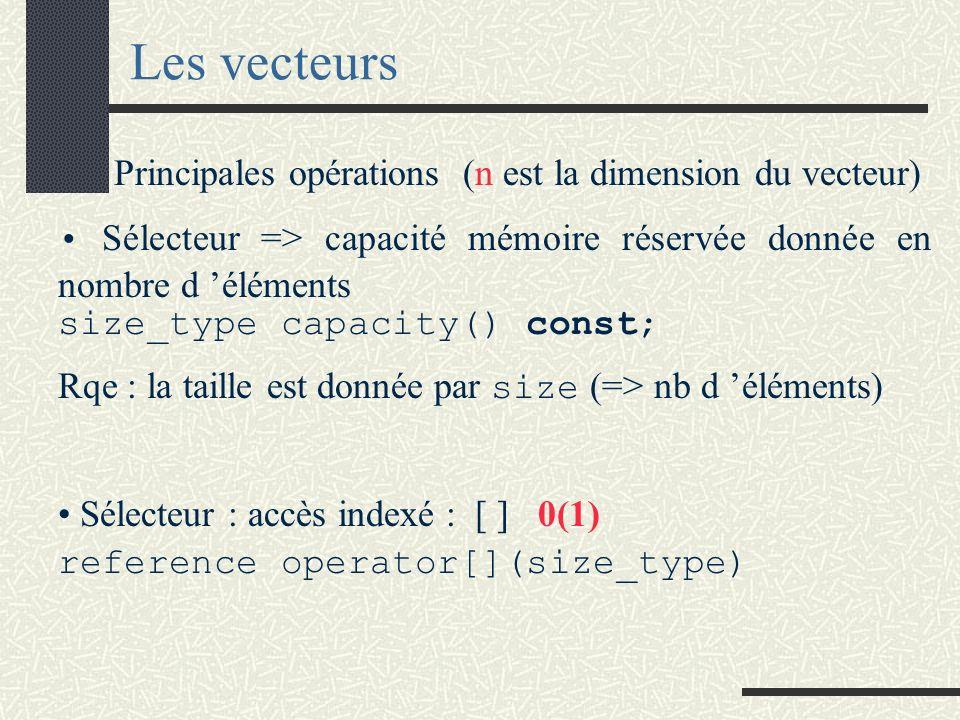 Les vecteurs Principales opérations (n est la dimension du vecteur) Sélecteur => capacité mémoire réservée donnée en nombre d éléments size_type capacity() const; Rqe : la taille est donnée par size (=> nb d éléments) Sélecteur : accès indexé : [ ]0(1) reference operator[](size_type)