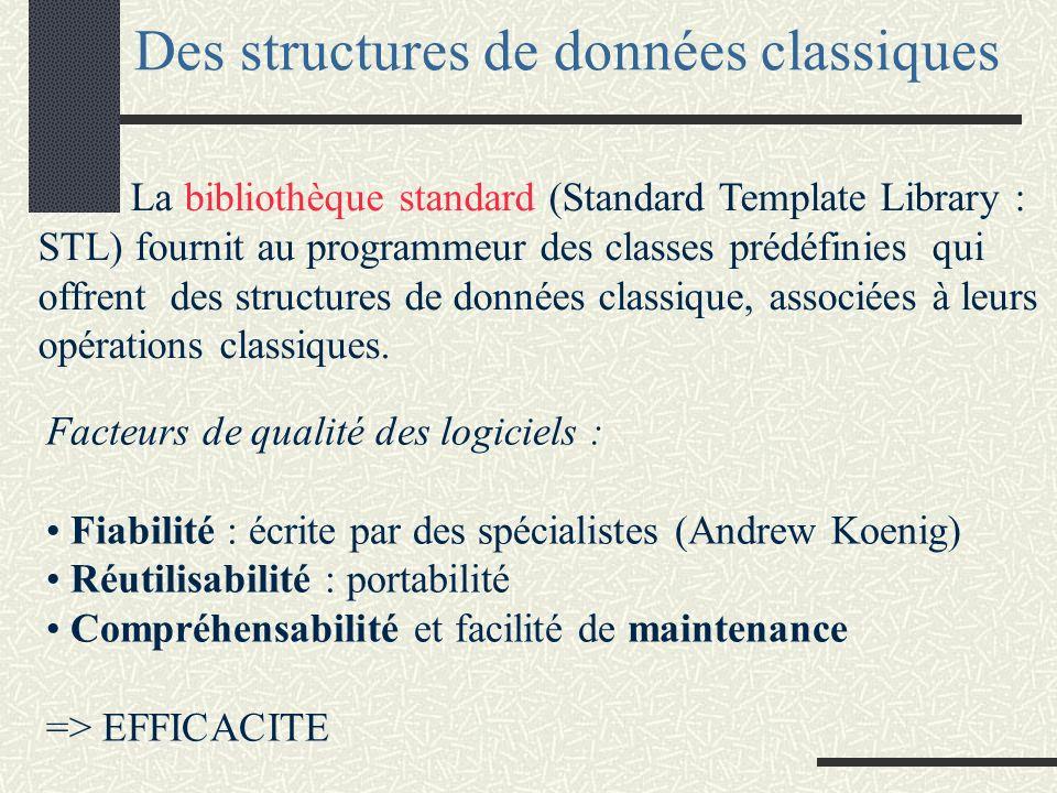 Des structures de données classiques La bibliothèque standard (Standard Template Library : STL) fournit au programmeur des classes prédéfinies qui offrent des structures de données classique, associées à leurs opérations classiques.