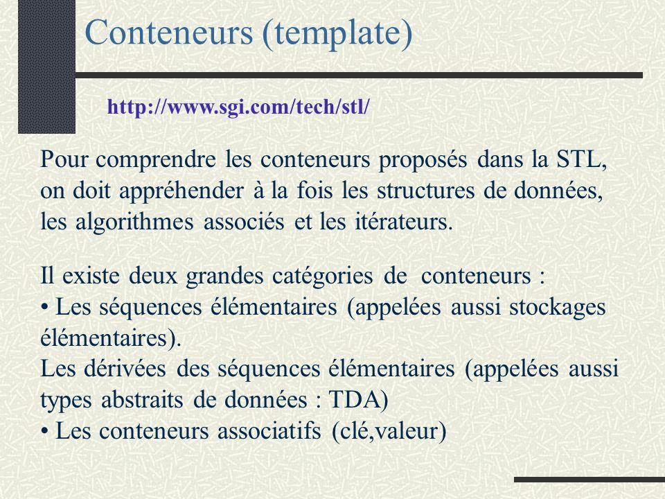Les conteneurs associatifs On trouve quatre conteneurs associatifs set : clé = valeur de l élément multiset : set avec occurrences multiples map : élément = (clé,v) multimap : map avec occurrences multiples sur clé Opérations utilisant les clés : recherche : find (complexité logarithmique) Comptage selon la clé : count