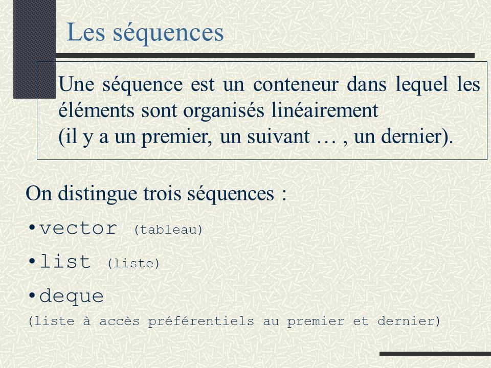 Les séquences On distingue trois séquences : vector (tableau) list (liste) deque (liste à accès préférentiels au premier et dernier) Une séquence est un conteneur dans lequel les éléments sont organisés linéairement (il y a un premier, un suivant …, un dernier).