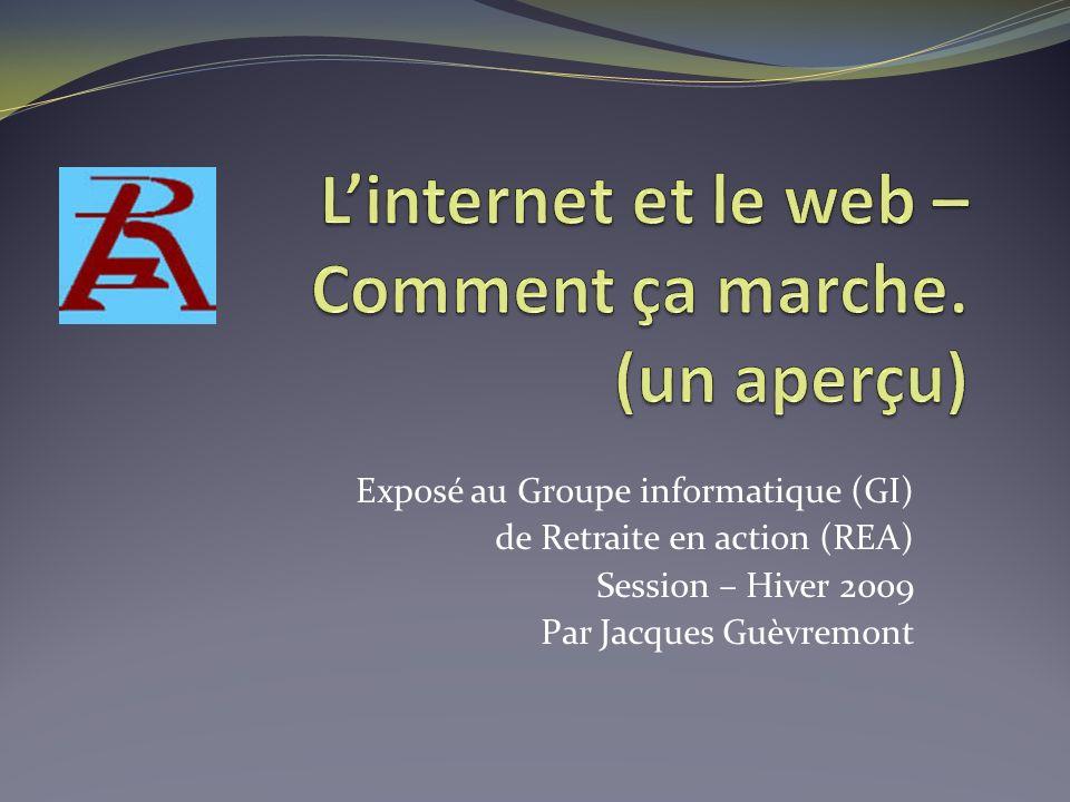 Exposé au Groupe informatique (GI) de Retraite en action (REA) Session – Hiver 2009 Par Jacques Guèvremont
