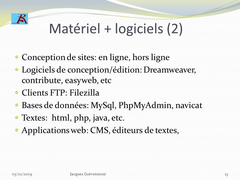 Matériel + logiciels Serveurs: externes (hébergeurs), internes (intranets + extranets) – apache, IIS, etc. (web, ftp, mail) Exemples: iWeb: http://fr.