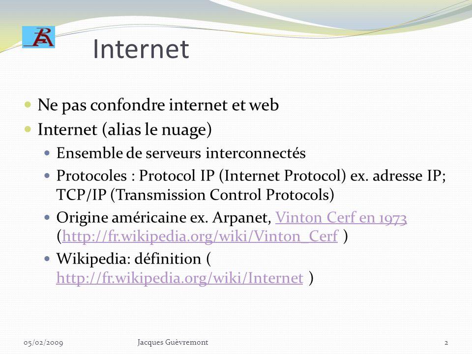 Internet Ne pas confondre internet et web Internet (alias le nuage) Ensemble de serveurs interconnectés Protocoles : Protocol IP (Internet Protocol) ex.