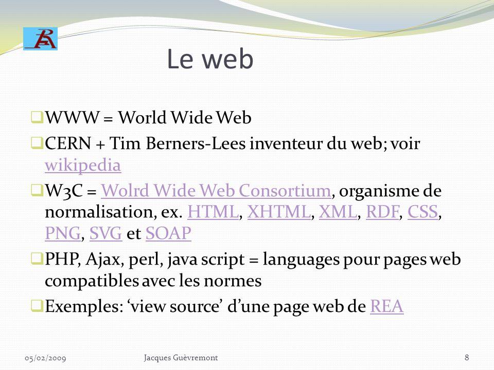 Le web WWW = World Wide Web CERN + Tim Berners-Lees inventeur du web; voir wikipedia wikipedia W3C = Wolrd Wide Web Consortium, organisme de normalisation, ex.