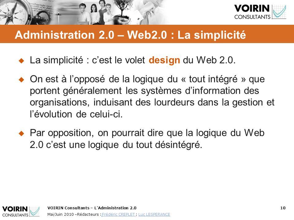 VOIRIN Consultants – LAdministration 2.010 Mai/Juin 2010 –Rédacteurs : Frédéric CREPLET ; Luc LESPERANCE Frédéric CREPLET Luc LESPERANCE Administratio