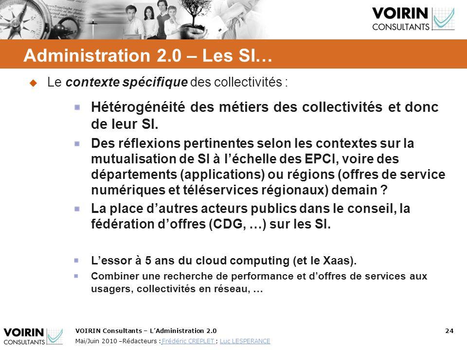 VOIRIN Consultants – LAdministration 2.024 Mai/Juin 2010 –Rédacteurs : Frédéric CREPLET ; Luc LESPERANCE Frédéric CREPLET Luc LESPERANCE Le contexte s