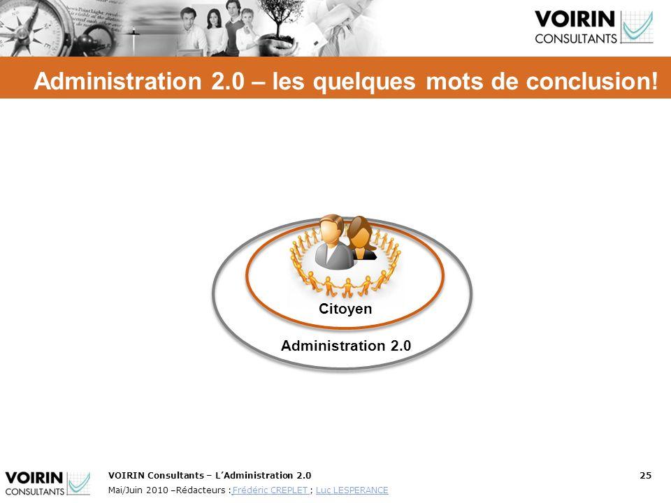 VOIRIN Consultants – LAdministration 2.025 Mai/Juin 2010 –Rédacteurs : Frédéric CREPLET ; Luc LESPERANCE Frédéric CREPLET Luc LESPERANCE Administratio