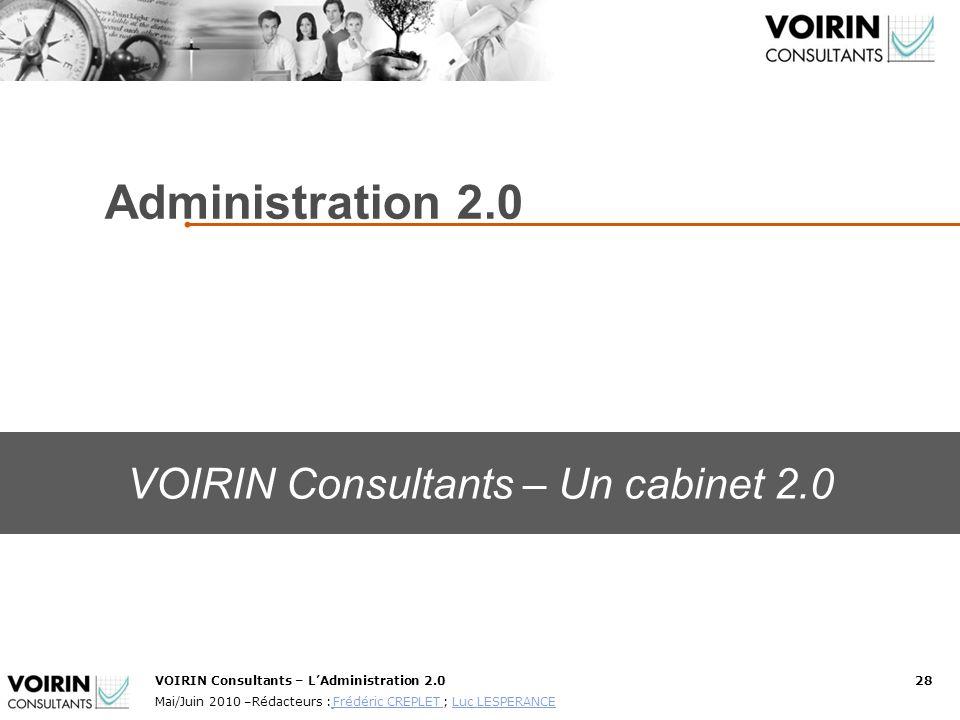 VOIRIN Consultants – LAdministration 2.028 Mai/Juin 2010 –Rédacteurs : Frédéric CREPLET ; Luc LESPERANCE Frédéric CREPLET Luc LESPERANCE Conducteur Ré