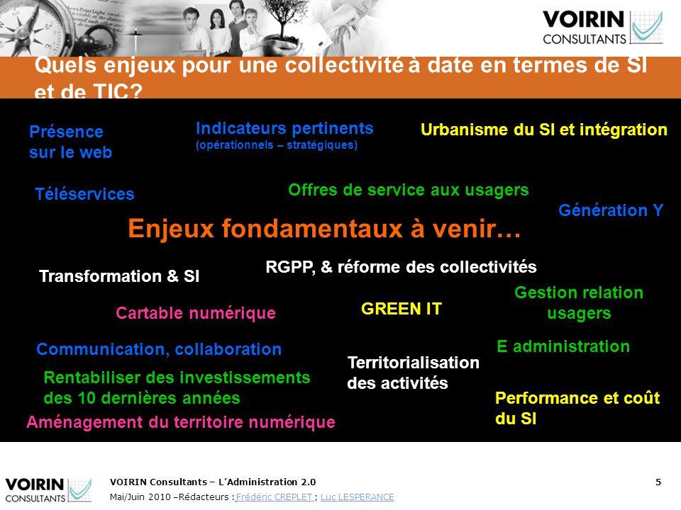 VOIRIN Consultants – LAdministration 2.05 Mai/Juin 2010 –Rédacteurs : Frédéric CREPLET ; Luc LESPERANCE Frédéric CREPLET Luc LESPERANCE Quels enjeux p