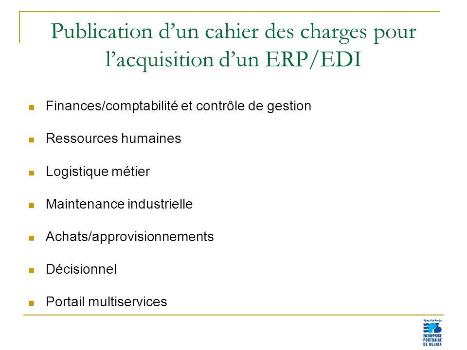 14 Publication dun cahier des charges pour lacquisition dun ERP/EDI Finances/comptabilité et contrôle de gestion Ressources humaines Logistique métier